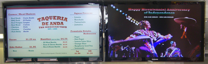 Restaurant Menu Board displaying Event News